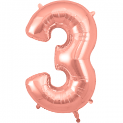 86cm Rose Gold Number 3 Balloon