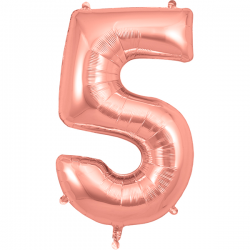 86cm Rose Gold Number 5 Balloon