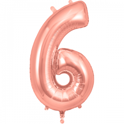 86cm Rose Gold Number 6 Balloon