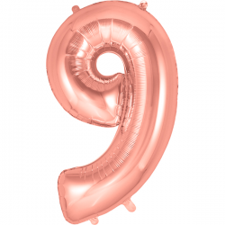 86cm Rose Gold Number 9 Balloon