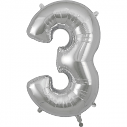 86cm Silver Number 3 Balloon