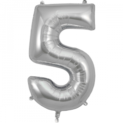 86cm Silver Number 5 Balloon