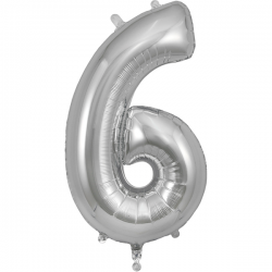 86cm Silver Number 6 Balloon