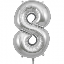 86cm Silver Number 8 Balloon