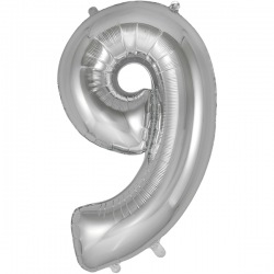 86cm Silver Number 9 Balloon