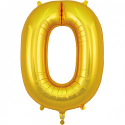 86cm Gold Number 0 Balloon