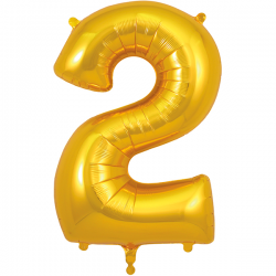86cm Gold Number 2 Balloon