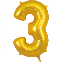 86cm Gold Number 3 Balloon