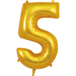 86cm Gold Number 5 Balloon