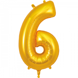 86cm Gold Number 6 Balloon