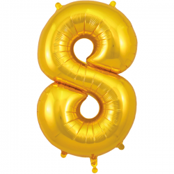 86cm Gold Number 8 Balloon