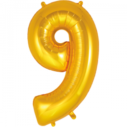 86cm Gold Number 9 Balloon