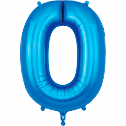 86cm Blue Number 0 Balloon