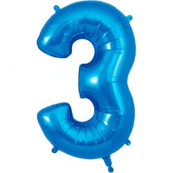 86cm Blue Number 3 Balloon