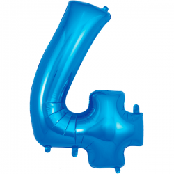 86cm Blue Number 4 Balloon