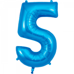 86cm Blue Number 5 Balloon