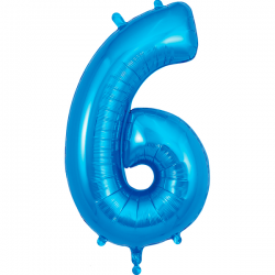 86cm Blue Number 6 Balloon