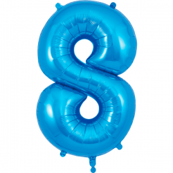 86cm Blue Number 8 Balloon
