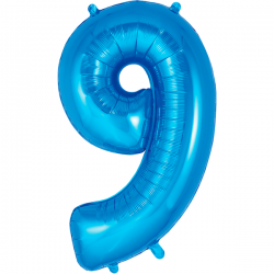 86cm Blue Number 9 Balloon