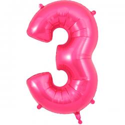 86cm Pink Number 3 Balloon