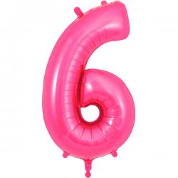 86cm pink Number 6 Balloon