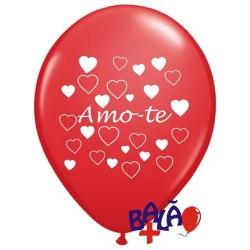 Balão 30cm Amo-te Corações